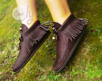 Moccasins, Brown Moccasin Boots, Womens Moccasins, Brown Leather Moccasins, Leather Boots, Mens Moccasins, Womens Boots, Brown Boots, Boots