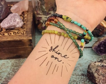 "Temporary Tattoo - ""Shine On"" - Boho Tattoo - Inspirational Tattoo - Yoga Tattoo"