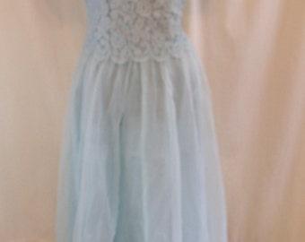 "Vintage 60s Light Blue Chiffon Lace Prom Dress 40"" Bust"
