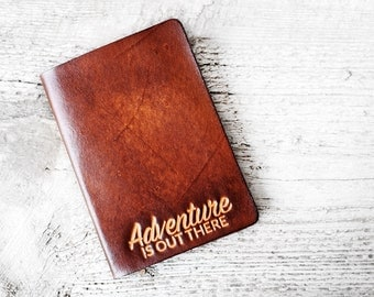 Leather Passport Cover Adventure Is Out There Travel Gift, Passport Holder Graduation Gift Adventure Quote, Travel Quote