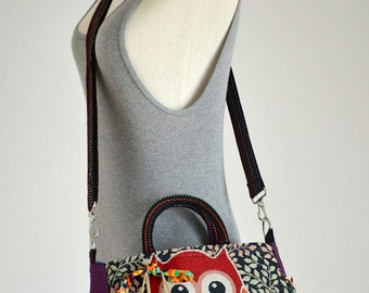 Vintage Hippie Style Handbag Owl Crossbody Bag Boho Hobo Bag Shoulder Bag Sling Messenger Bag Chic Purse, Harlem Owl (Purple)