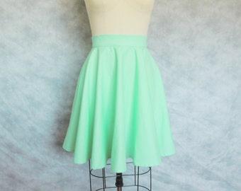 Mint Circle Skirt - Twirl, 1950's, Retro, Full Swing, High Waist, Flare, Skater