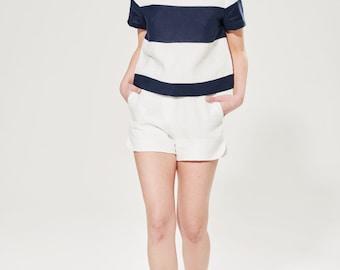 Summer Linen T-shirt / Nautical Blouse / Navy Blue Top / Linen Crop Top / Striped Linen Tee / Short Sleeves Blouse