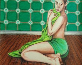 Original Colored pencil drawing - Pinup artwork - Lime Green - Artwork - Original pinup - Erotic art - Green art - Wall hanging - Original