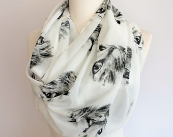 Cat Scarf Infinity Scarf Circle Halloween Shawls Cat Face Lover Pet Print White Scarf Gift For Her Wife Girlfriend Gift Black Friday