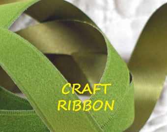 3 YARDS, Avocado Green, Velvet Satin Craft Ribbon, Seaflo, Acetate Rayon, 5/8 Inch Wide, C5