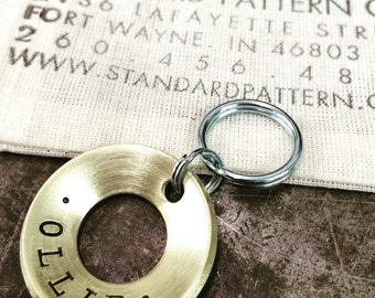 NEW STYLE! - Hand Stamped Dog Tags - Made to Order - Concave Brass, Copper or Stainless Steel