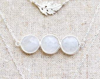 triple moonstone necklace  /// sterling silver layering necklace /// the three moons necklace