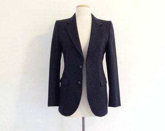 70s suit jacket pierre cardin blazer womens blazer vintage midnight blue fitted jacket pinstripe 70s clothing