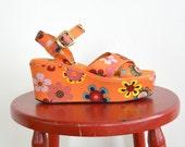 Vintage Zodiac Platform Floral Boho Hippie Open Toe Shoes // (Women's Size 6.5 - 7)