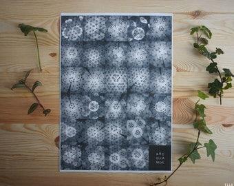 SALE! ABC Kaleidoscope Alphabet Poster, black and white print, A3