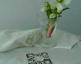 Beautiful white drawn- threadwork table-runner.Antique