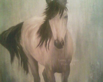 Fine Art Original BuckSkin Horse Painting, Custom Horse Oil Painting, Horse Decor