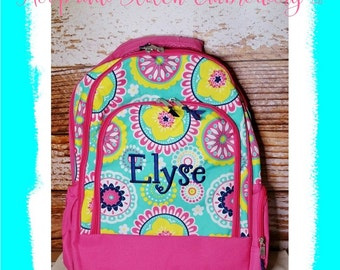 Monogram Girls Backpack for Back to School Hot Pink Piper Print with Yellow and Aqua, Monogram Piper Backpack, Piper Backpack