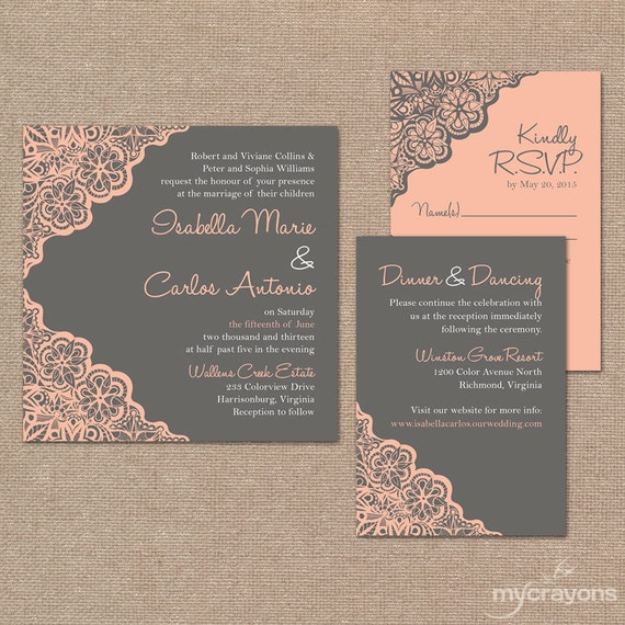 Printable Wedding Invitation Set // Rustic Lace Wedding