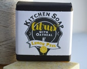 Kitchen Soap, Citrus with Oatmeal and Lemon Peel Powder, Sulfate Free Mango, Coconut & Shea , Gift, Chalkboard Paper