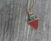 Red Goldstone Gold Plated Arrowhead Stone Pendant Necklace - Red Natural Stone - Arrow Arrowhead Archer - Bohemian Festival Simple Minimal
