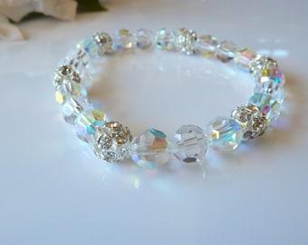 Swarovski Crystal Clear Stretch Bracelet with Rhinestone Beads- Swarovski Rhinestone Bracelet- Swarovski Bridesmaid Bracelet- Item KBD-483