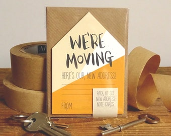 New Address Cards Pack Of 6 Miniature Houses 'We're Moving' // New Address Note Cards // Moving Cards // Change Of Address