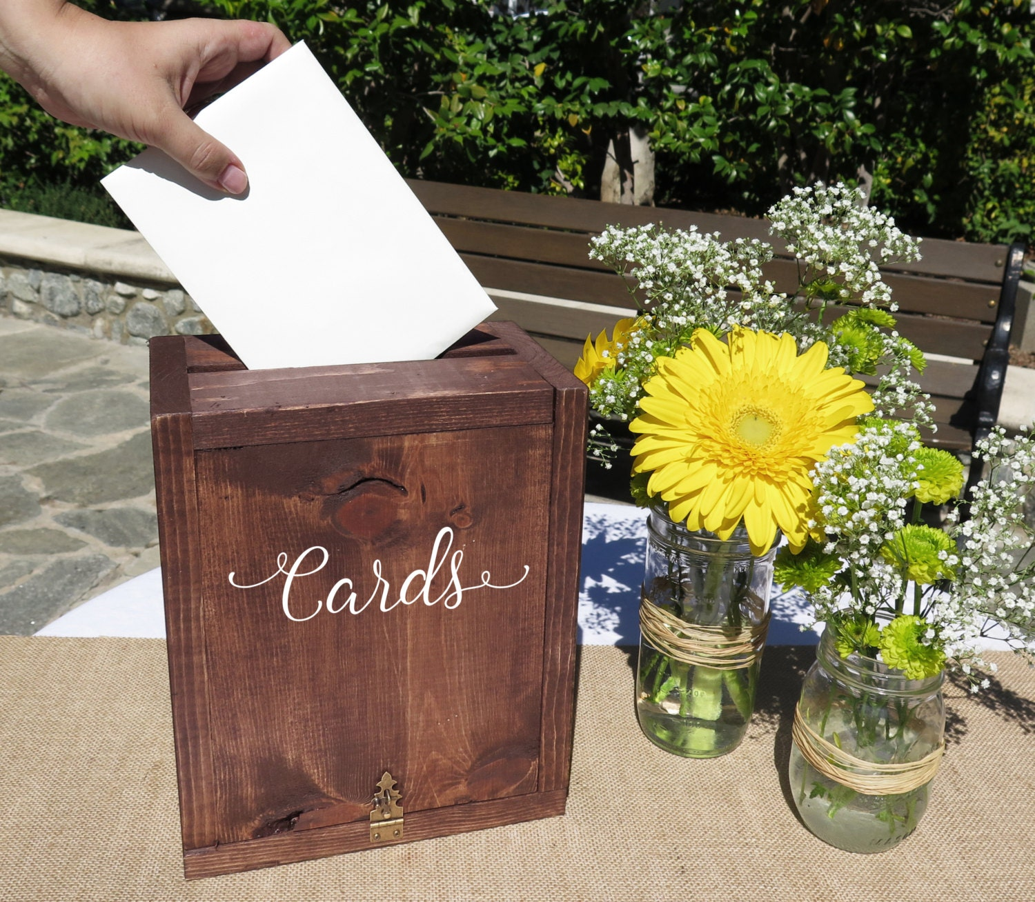 Wedding Card Box: Rustic Wedding Card Box Wedding Card Holder By