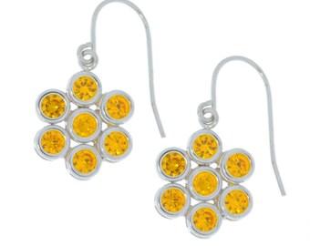 Citrine Bezel Round Dangle Earrings .925 Sterling Silver