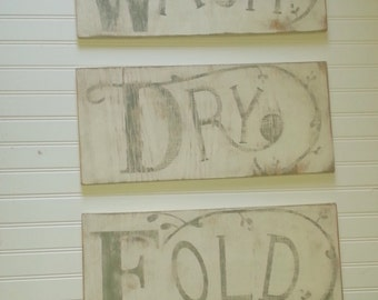 Antique advertising look distressed wash dry fold signs/laundry