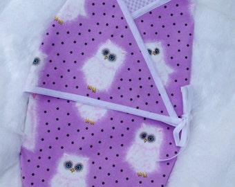 Fuzzy Owls Kimono Baby Swaddle