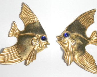 Gold Fish Figural Earrings