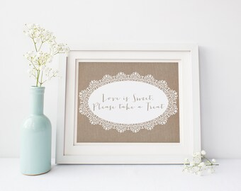 "INSTANT DOWNLOAD - Love Is Sweet Printable Sign 8x10"" DIY Wedding... Burlap Lace style"