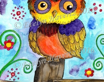 "Whimsical Owl ""Walter"", mixed media painting on watercolor paper"