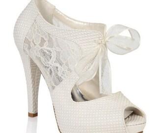 Wedding Shoes Bridal Bridesmaid Bride Handmade Pearls Relief And