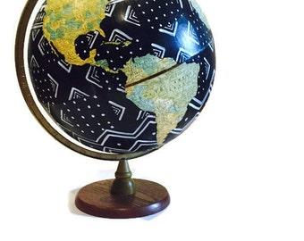 Vintage Hand Painted Globe African Mud Cloth Inspired Geometric Modern World Map Bohemian Decor Meets Tribal Mali Black & White Wanderlust