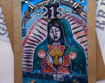 Guadalupe Greeting Card with Cross and Rhinestones
