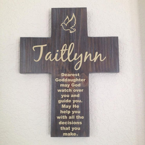 Goddaughter personalized wood cross dove and poem great like this item negle Gallery
