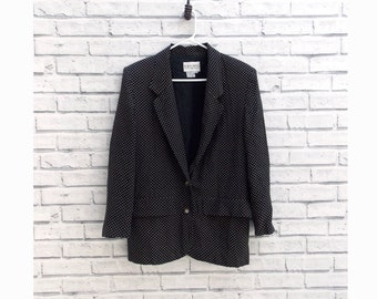 Vintage Black Silk Blazer with Petite Polka Dots Size 4 Jacket