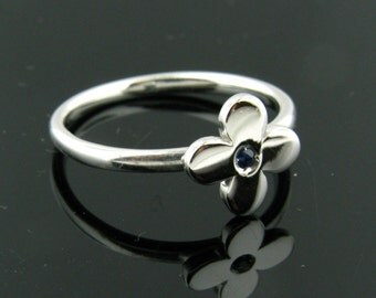 Blue Sapphire and Sterling Silver Ring Size 7