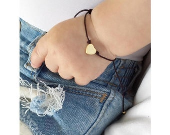 Mini heart charm adjustable string bracelet, gold tone
