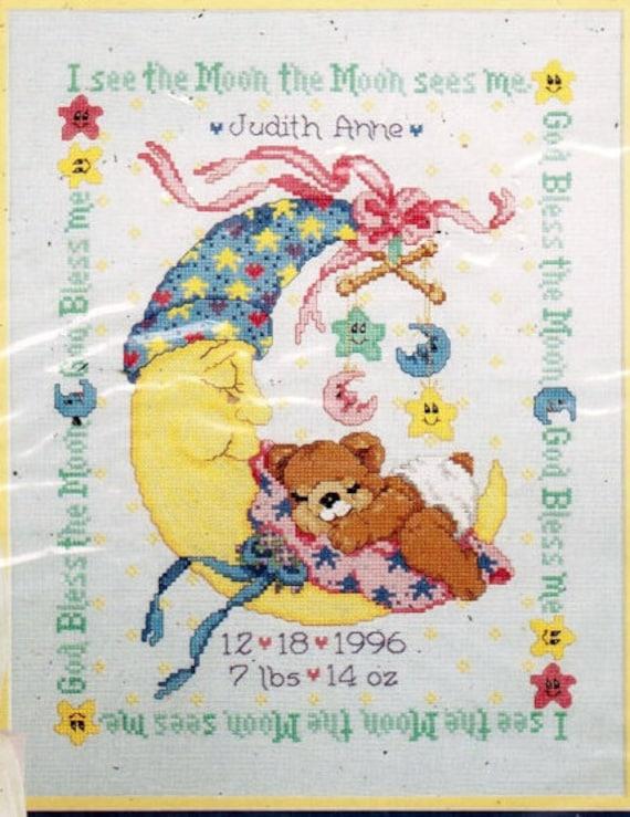 Baby Cross Stitch Kit, Nursery Wall Decor, Bucilla Mr Moon and Me, Baby Nursery Decor, Baby Record, Baby Gift Needlework Kit