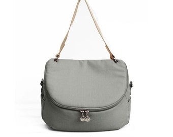 "Gray Canvas Crossbody / Shoulder Canvas Bag ""Lunette"", Water Resistant Canvas"