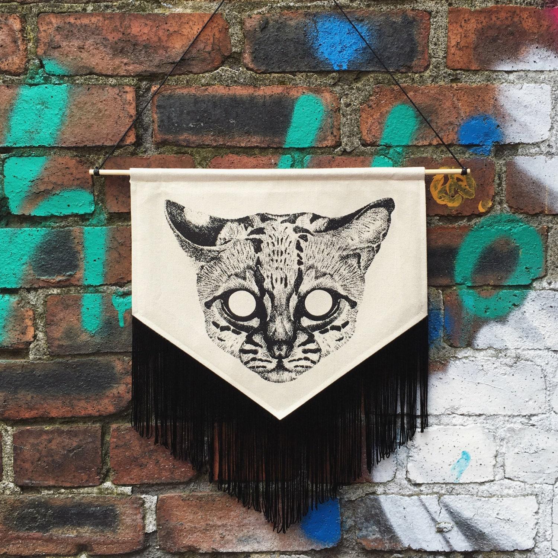 Screen Printed Pointillism Ocelot Pennant Wall Hanging