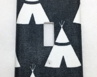 Teepees Light Switch Plate Cover / Outlet Cover / Bedroom / Home Decor / Housewarming Gift / Nursery Decor / Kid's Room / Woodland / Navy