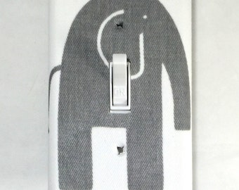 Grey Elephant Fabric Single Light Switch Cover / Switch Plate / Nursery decor / Baby Shower Gift / Outlet Cover / Home / Bedroom / Safari