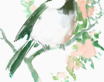 chickadee original watercolor painting 7 x 5 in small painting christmas gift art one of a kind art watercolor brid painitng