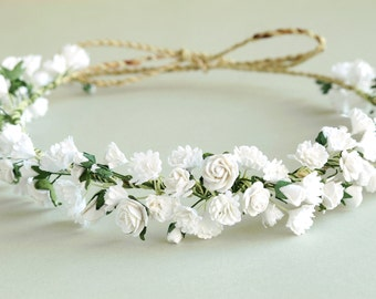 Gypsophila Flower Crown - White bridal headpiece - Made of paper baby's breath and natural twine