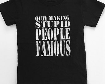 New- 3T- Boys-Quit Making Stupid People Famous-Hand Painted-Short Sleeve T Shirt- Black