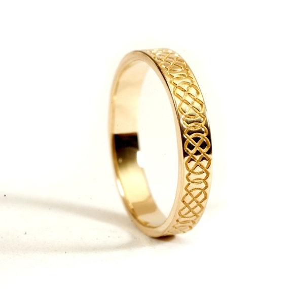 Celtic Wedding Ring With Engraved Woven Knotwork Design in 10K 14K 18K Gold, Palladium or Platinum Handmade in Custom Ring Size CR-749