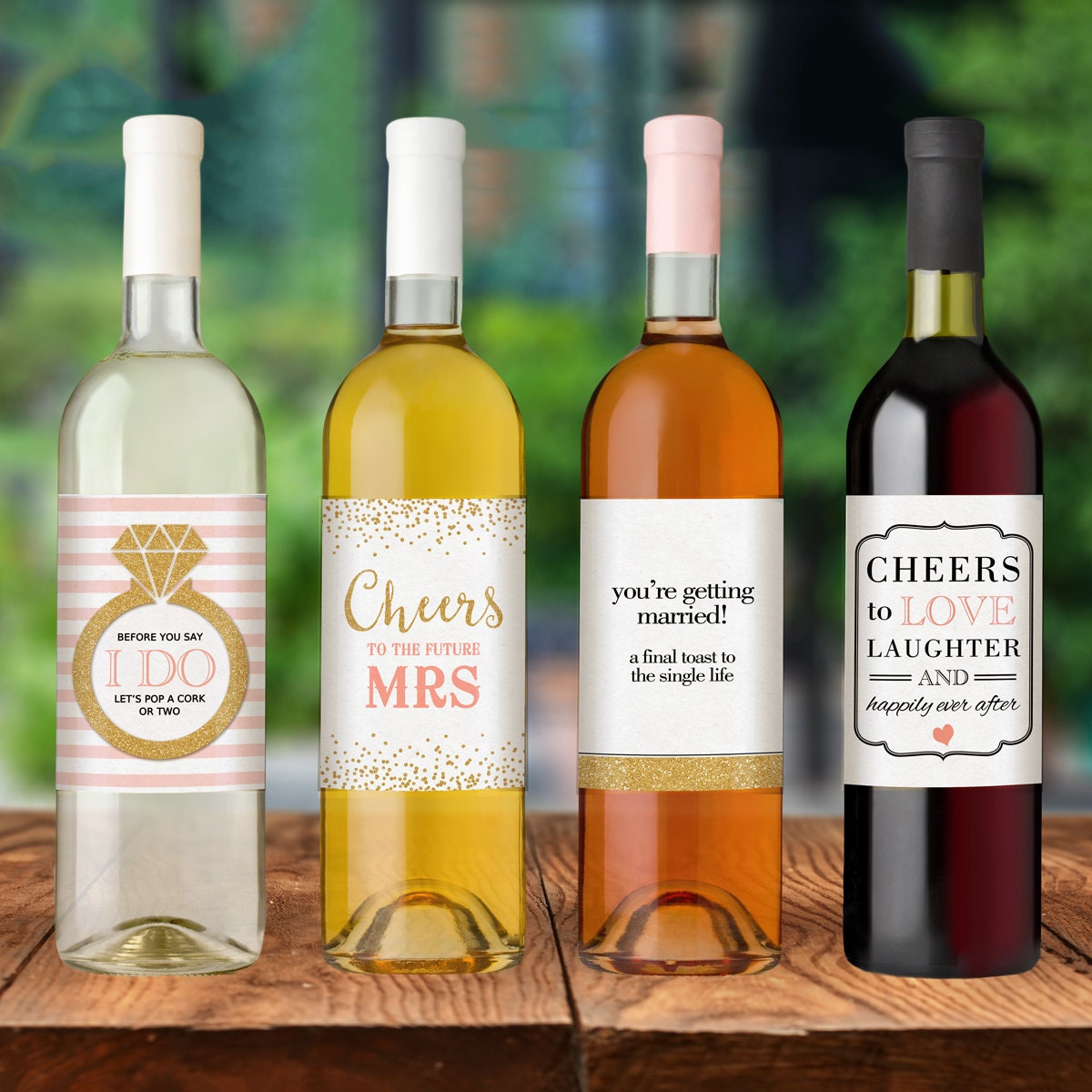 Waterproof Wine Bottle Labels For Engagement Party Gift