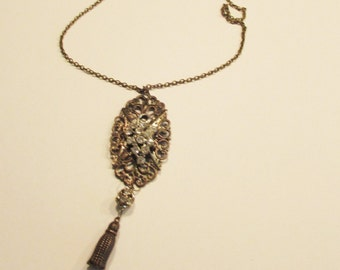 Necklace, pendant, filigree, pear, rhinestone, tassel, C, jewelry