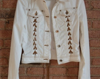 Fabulous Dolce & Gabbana 90s cow girl white fitted denim jacket