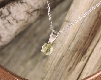 Sterling Silver Pendant/Necklace - Lemon Quartz Pendant/Necklace - Sterling Silver Setting with a 5mm Natural Lemon Quartz Gemstone